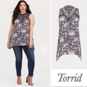 Torrid Grey Illusion Sharkbite Gauze Tank